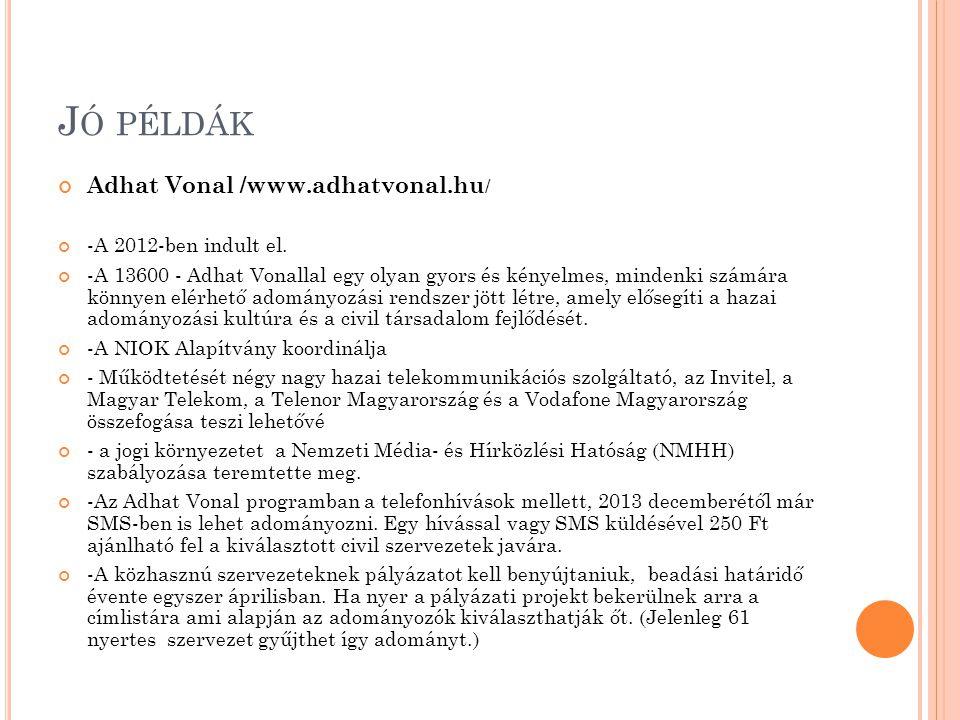 J Ó PÉLDÁK Adhat Vonal /www.adhatvonal.hu / -A 2012-ben indult el. -A 13600 - Adhat Vonallal egy olyan gyors és kényelmes, mindenki számára könnyen el