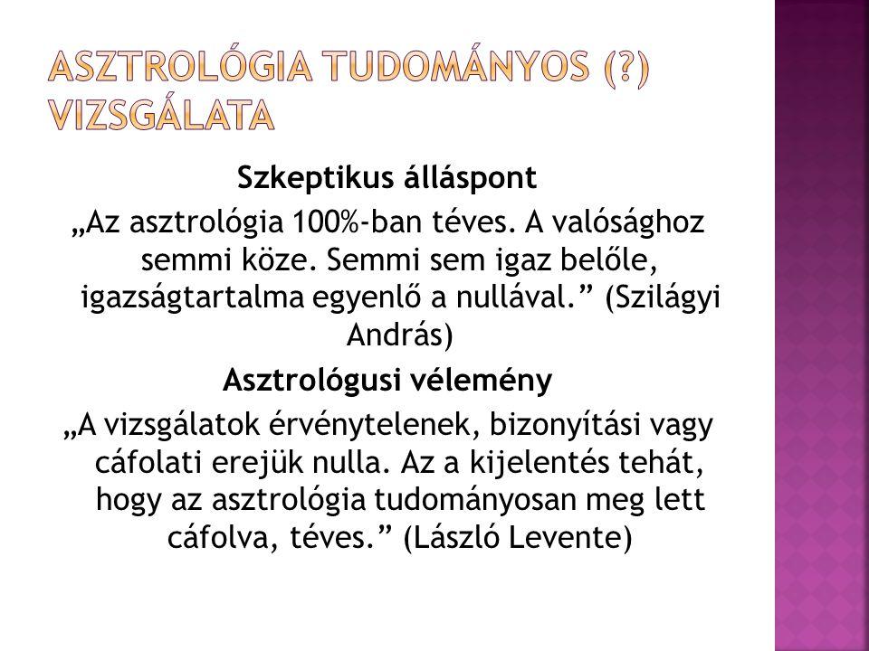 """Szkeptikus álláspont """"Az asztrológia 100%-ban téves."""