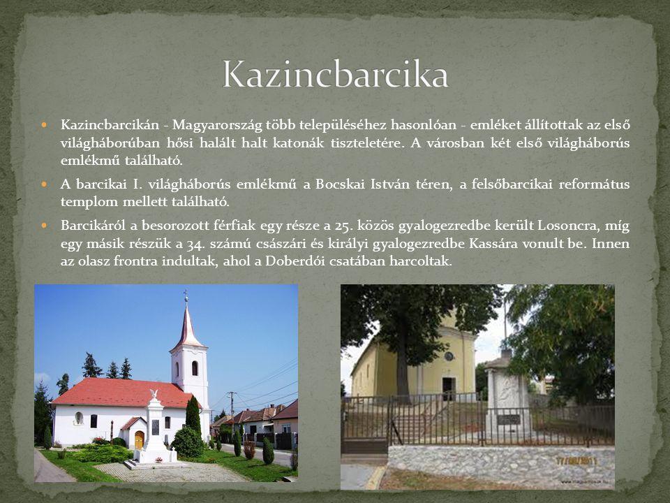 Kazincbarcikán - Magyarország több településéhez hasonlóan - emléket állítottak az első világháborúban hősi halált halt katonák tiszteletére. A városb