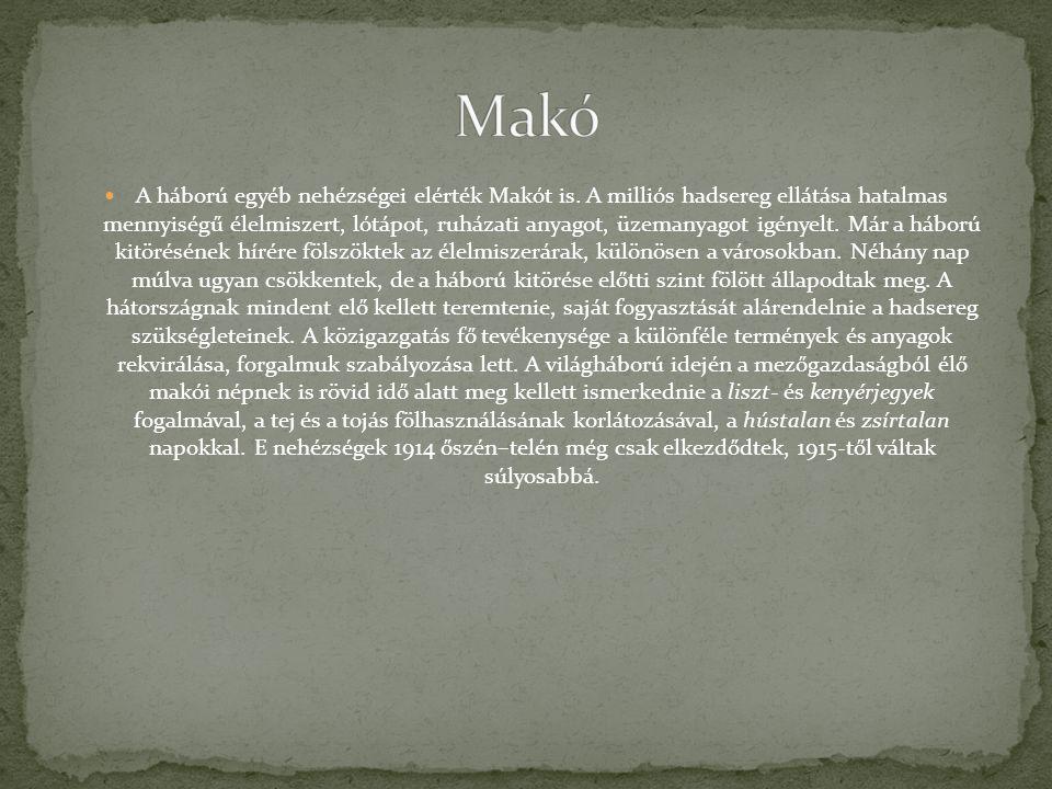 A háború egyéb nehézségei elérték Makót is. A milliós hadsereg ellátása hatalmas mennyiségű élelmiszert, lótápot, ruházati anyagot, üzemanyagot igénye