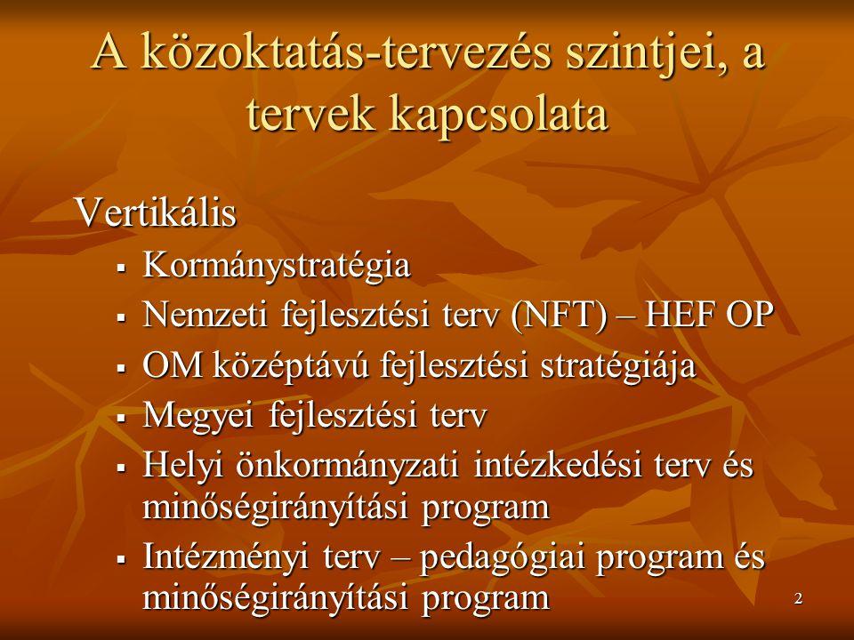 2 A közoktatás-tervezés szintjei, a tervek kapcsolata Vertikális  Kormánystratégia  Nemzeti fejlesztési terv (NFT) – HEF OP  OM középtávú fejleszté