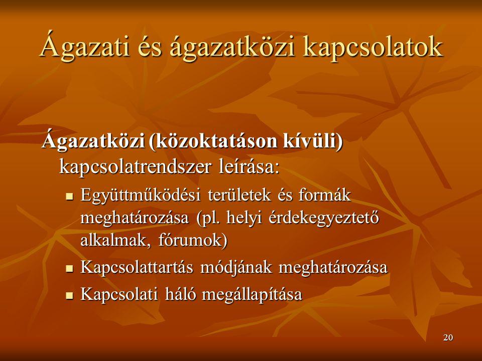 20 Ágazati és ágazatközi kapcsolatok Ágazatközi (közoktatáson kívüli) kapcsolatrendszer leírása: Együttműködési területek és formák meghatározása (pl.