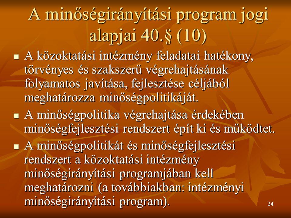 24 A minőségirányítási program jogi alapjai 40.§ (10) A közoktatási intézmény feladatai hatékony, törvényes és szakszerű végrehajtásának folyamatos ja