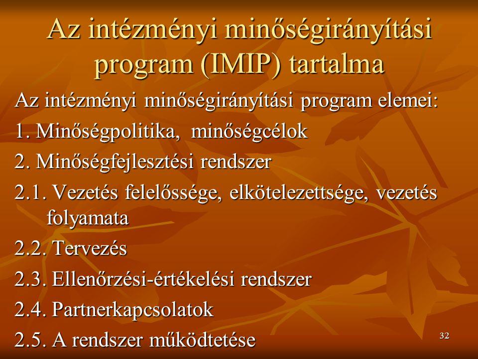 32 Az intézményi minőségirányítási program (IMIP) tartalma Az intézményi minőségirányítási program elemei: 1. Minőségpolitika, minőségcélok 2. Minőség