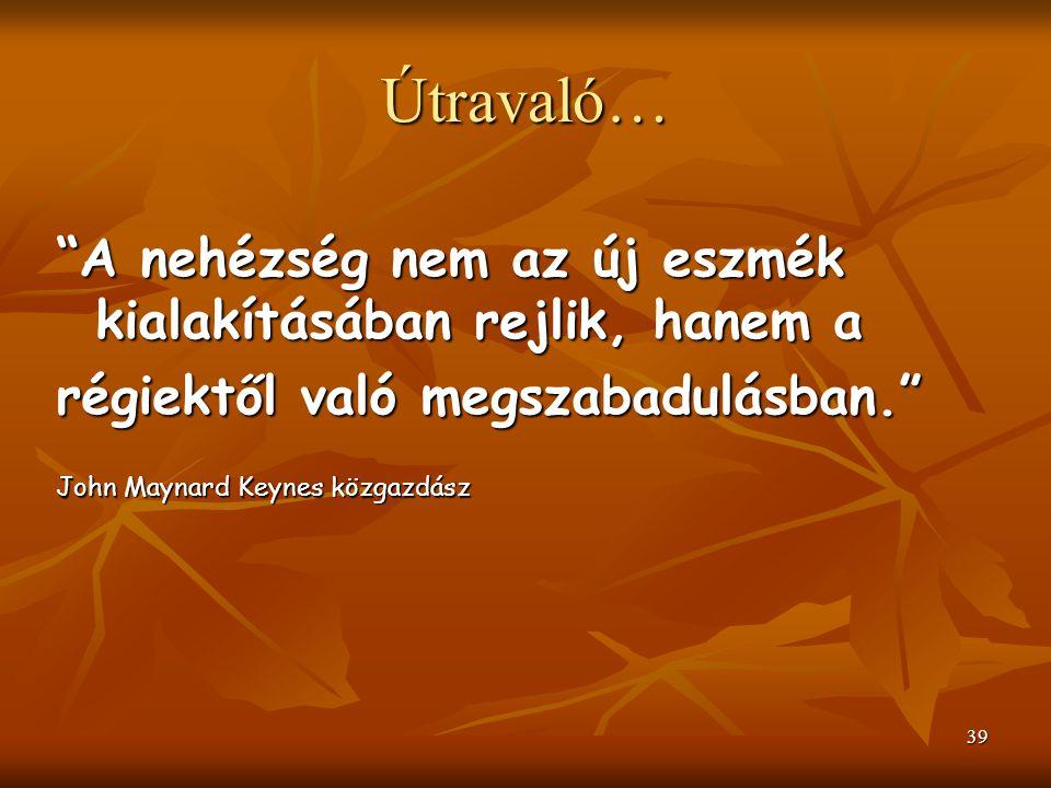 """39 Útravaló… """"A nehézség nem az új eszmék kialakításában rejlik, hanem a régiektől való megszabadulásban."""" John Maynard Keynes közgazdász"""
