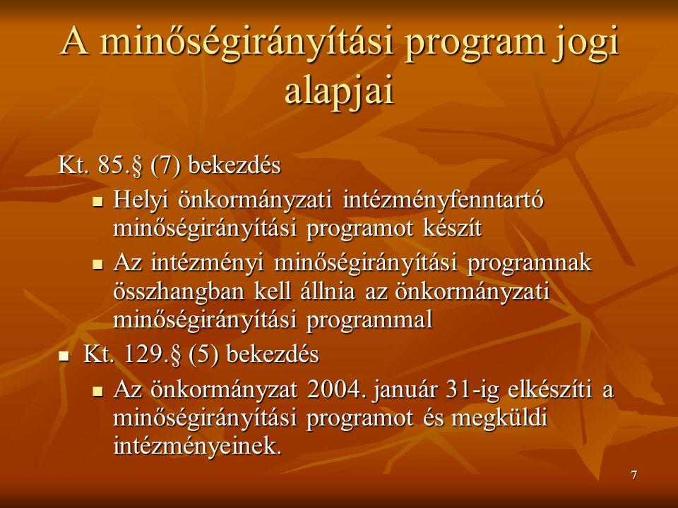 7 A minőségirányítási program jogi alapjai Kt. 85.§ (7) bekezdés Helyi önkormányzati intézményfenntartó minőségirányítási programot készít Helyi önkor