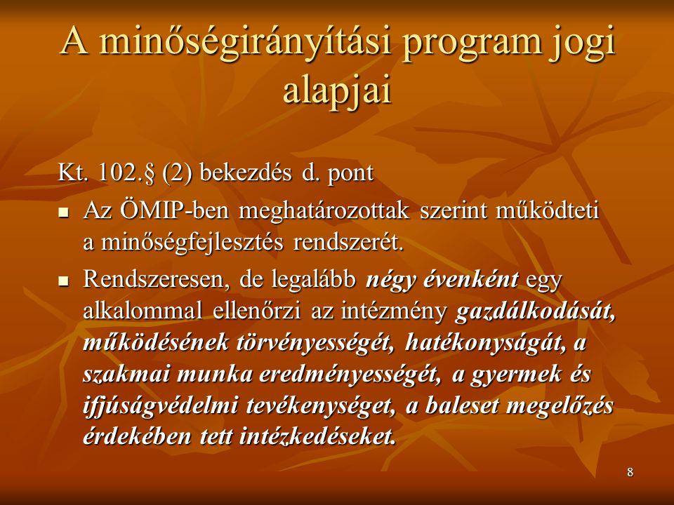 8 A minőségirányítási program jogi alapjai Kt. 102.§ (2) bekezdés d. pont Az ÖMIP-ben meghatározottak szerint működteti a minőségfejlesztés rendszerét