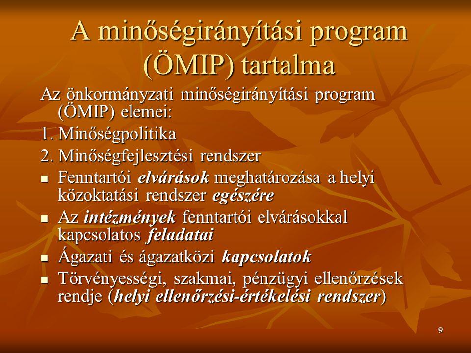 9 A minőségirányítási program (ÖMIP) tartalma Az önkormányzati minőségirányítási program (ÖMIP) elemei: 1. Minőségpolitika 2. Minőségfejlesztési rends