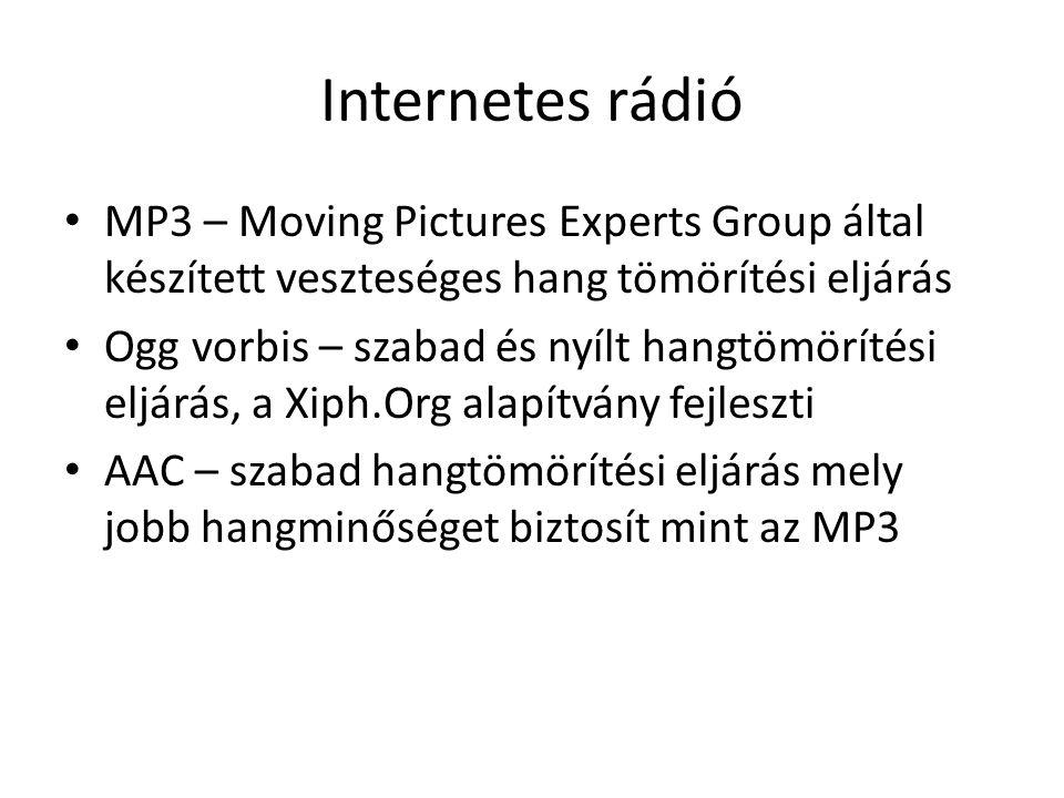 Internetes rádió MP3 – Moving Pictures Experts Group által készített veszteséges hang tömörítési eljárás Ogg vorbis – szabad és nyílt hangtömörítési eljárás, a Xiph.Org alapítvány fejleszti AAC – szabad hangtömörítési eljárás mely jobb hangminőséget biztosít mint az MP3