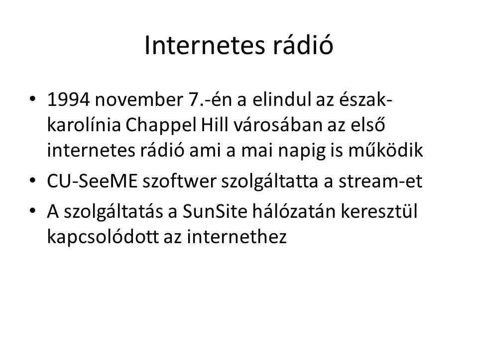 Internetes rádió 1994 november 7.-én a elindul az észak- karolínia Chappel Hill városában az első internetes rádió ami a mai napig is működik CU-SeeME szoftwer szolgáltatta a stream-et A szolgáltatás a SunSite hálózatán keresztül kapcsolódott az internethez