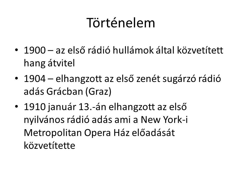 Történelem 1900 – az első rádió hullámok által közvetített hang átvitel 1904 – elhangzott az első zenét sugárzó rádió adás Grácban (Graz) 1910 január 13.-án elhangzott az első nyilvános rádió adás ami a New York-i Metropolitan Opera Ház előadását közvetítette