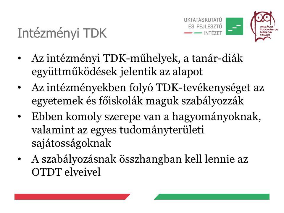 Intézményi TDK Az intézményi TDK-műhelyek, a tanár-diák együttműködések jelentik az alapot Az intézményekben folyó TDK-tevékenységet az egyetemek és f