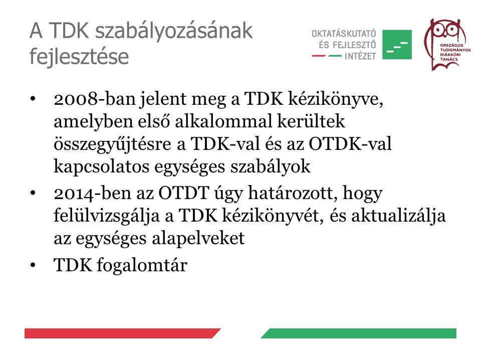 A TDK szabályozásának fejlesztése 2008-ban jelent meg a TDK kézikönyve, amelyben első alkalommal kerültek összegyűjtésre a TDK-val és az OTDK-val kapc