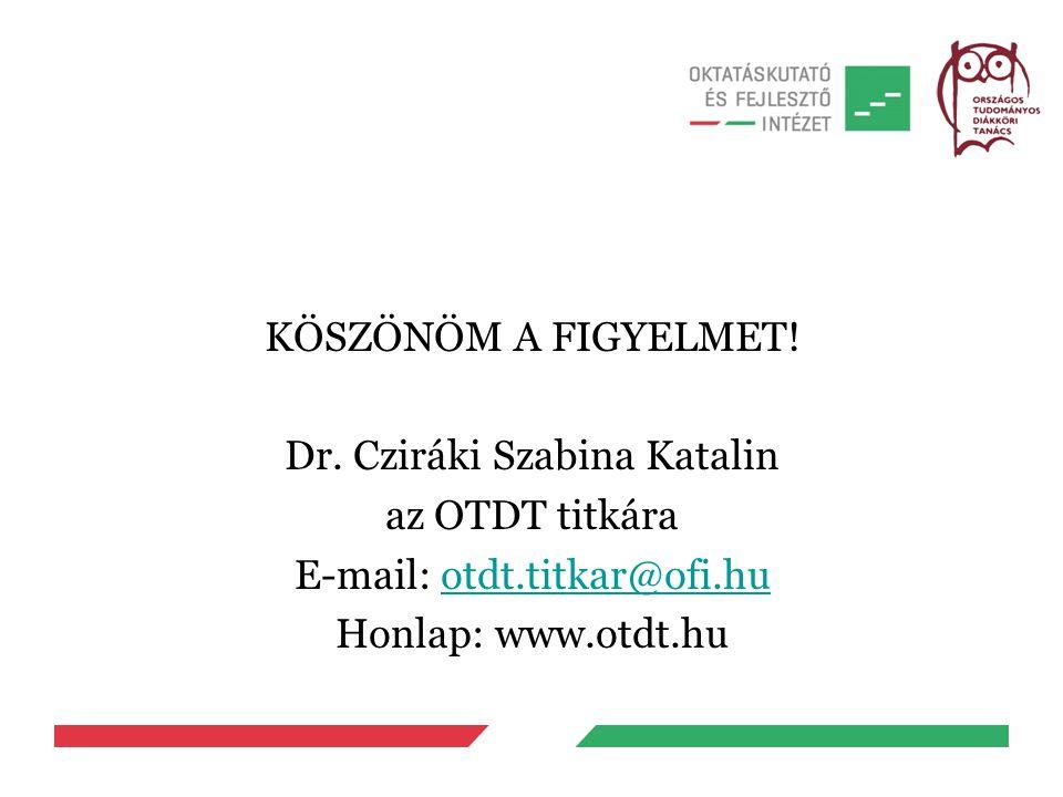 KÖSZÖNÖM A FIGYELMET! Dr. Cziráki Szabina Katalin az OTDT titkára E-mail: otdt.titkar@ofi.huotdt.titkar@ofi.hu Honlap: www.otdt.hu