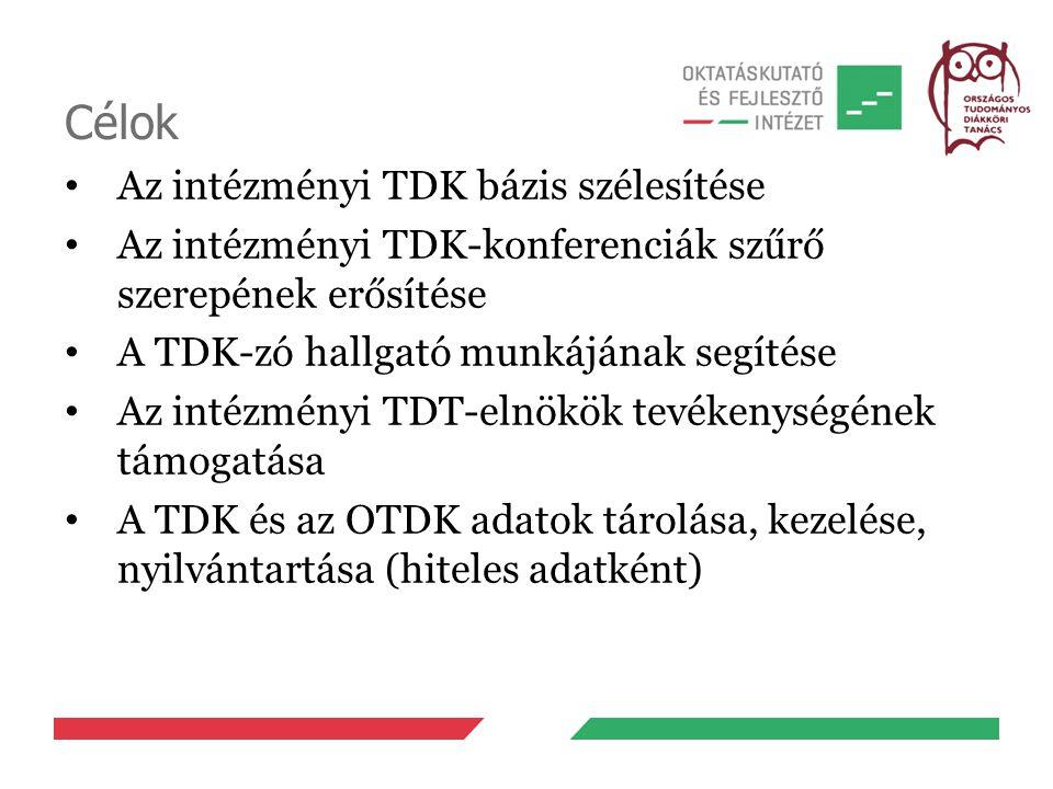 Célok Az intézményi TDK bázis szélesítése Az intézményi TDK-konferenciák szűrő szerepének erősítése A TDK-zó hallgató munkájának segítése Az intézmény