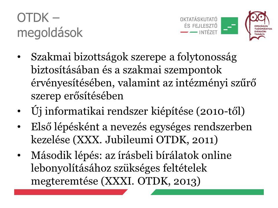 OTDK – megoldások Szakmai bizottságok szerepe a folytonosság biztosításában és a szakmai szempontok érvényesítésében, valamint az intézményi szűrő sze