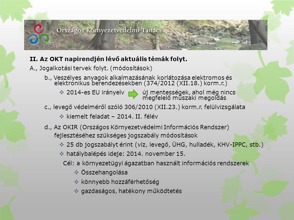 II. Az OKT napirendjén lévő aktuális témák folyt.