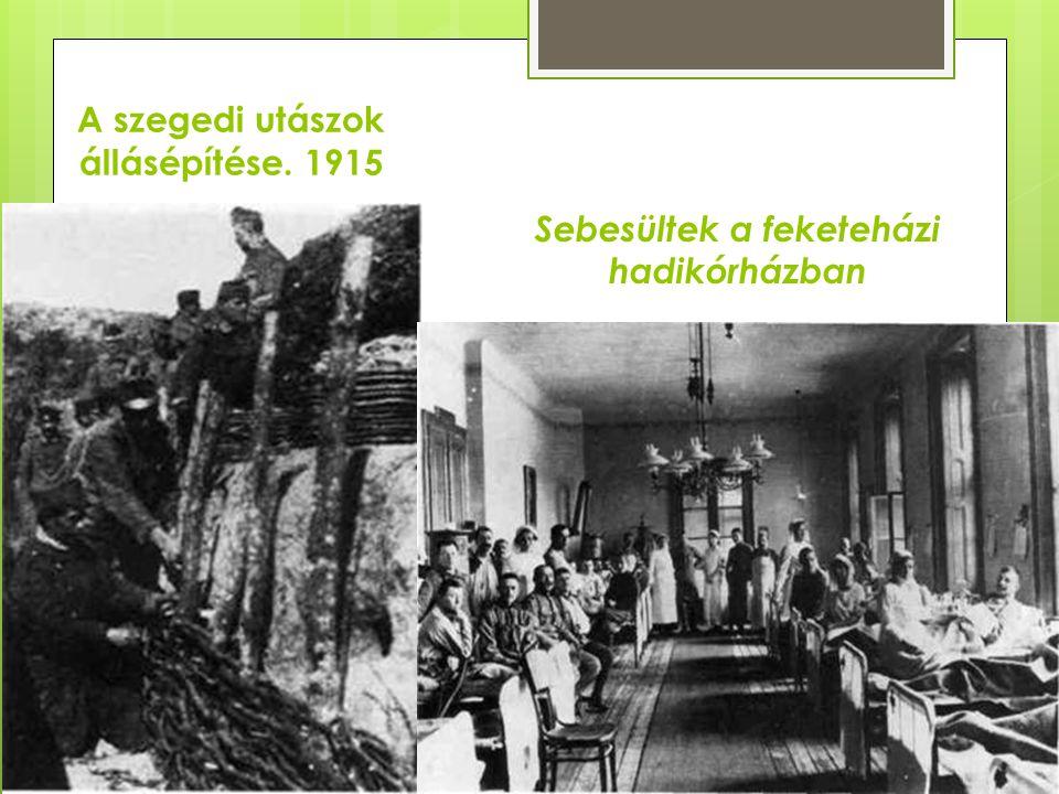 A szegedi utászok állásépítése. 1915 Sebesültek a feketeházi hadikórházban