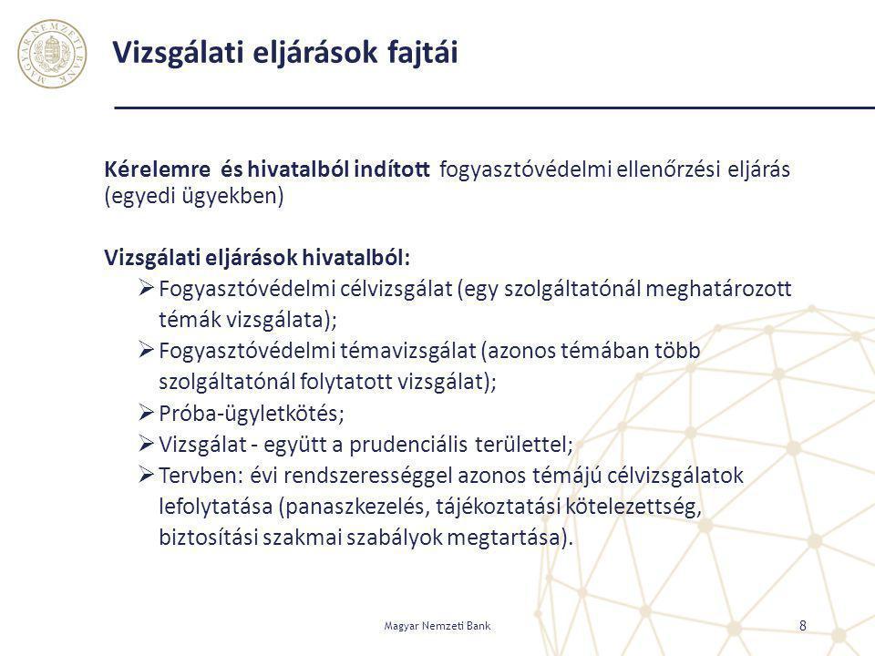 Vizsgálati eljárások fajtái Kérelemre és hivatalból indított fogyasztóvédelmi ellenőrzési eljárás (egyedi ügyekben) Vizsgálati eljárások hivatalból: 