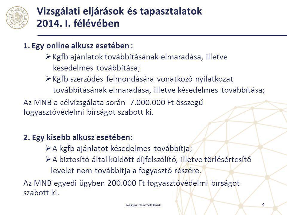 Vizsgálati eljárások és tapasztalatok 2014. I. félévében 1. Egy online alkusz esetében :  Kgfb ajánlatok továbbításának elmaradása, illetve késedelme