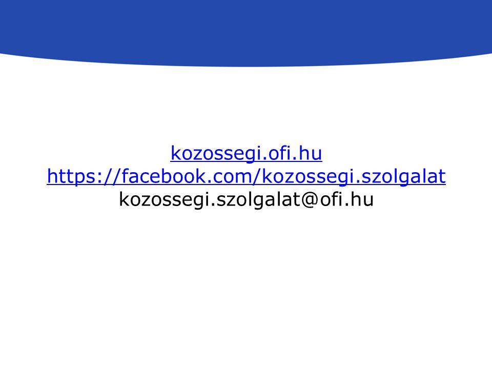 kozossegi.ofi.hu https://facebook.com/kozossegi.szolgalat kozossegi.szolgalat@ofi.hu