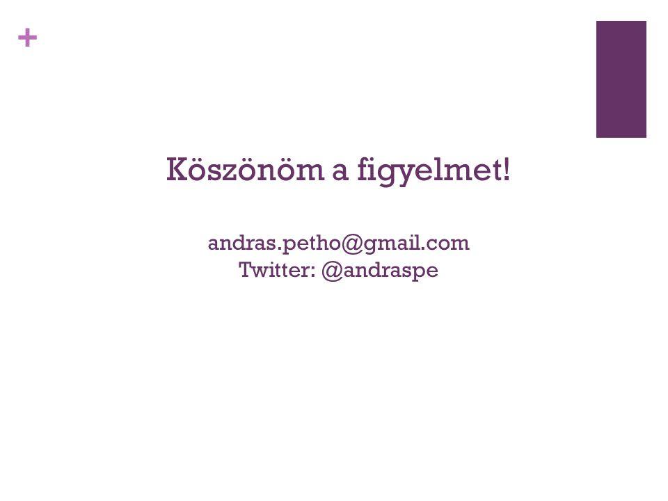 + Köszönöm a figyelmet! andras.petho@gmail.com Twitter: @andraspe