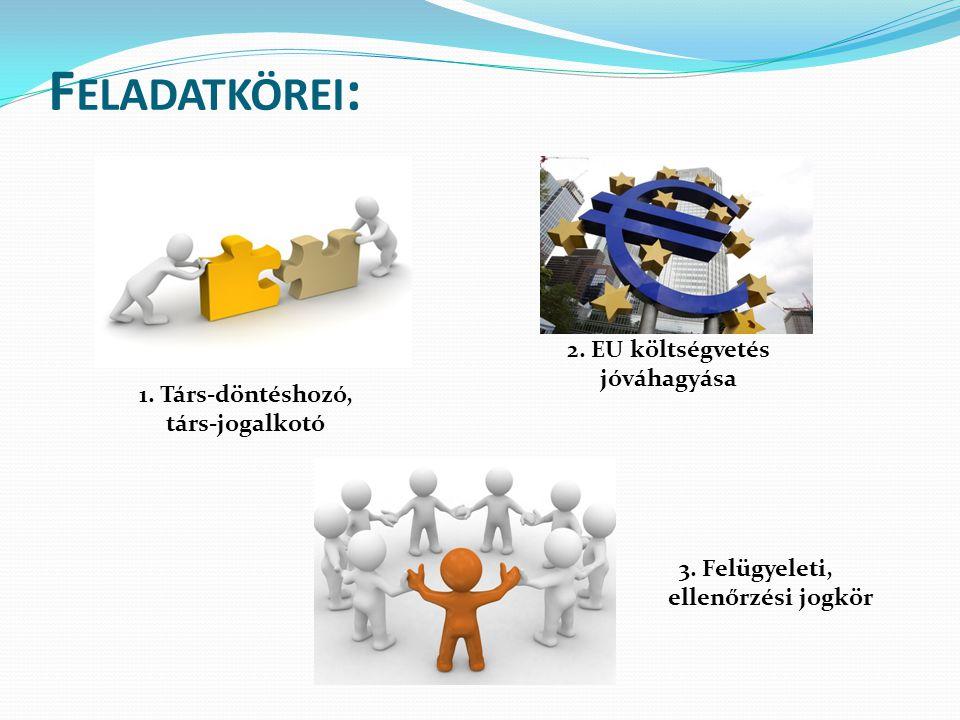 F ELADATKÖREI : 1. Társ-döntéshozó, társ-jogalkotó 3.
