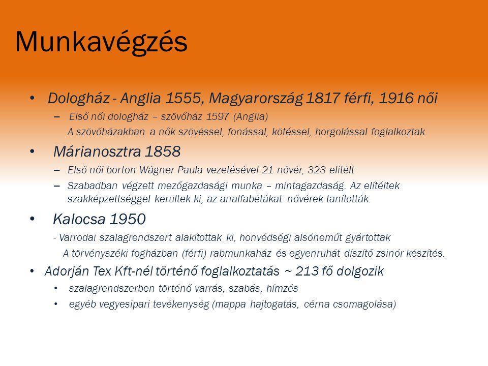 Munkavégzés Dologház - Anglia 1555, Magyarország 1817 férfi, 1916 női – Első női dologház – szövőház 1597 (Anglia) A szövőházakban a nők szövéssel, fo