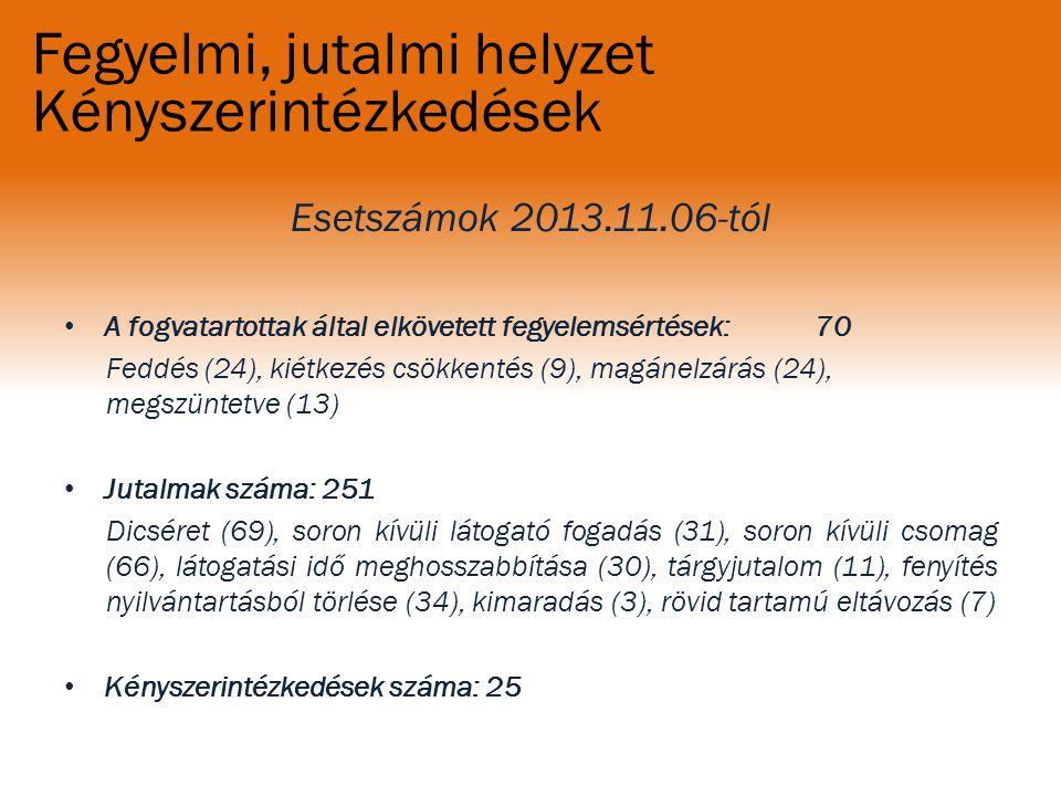 Fegyelmi, jutalmi helyzet Kényszerintézkedések Esetszámok 2013.11.06-tól A fogvatartottak által elkövetett fegyelemsértések: 70 Feddés (24), kiétkezés