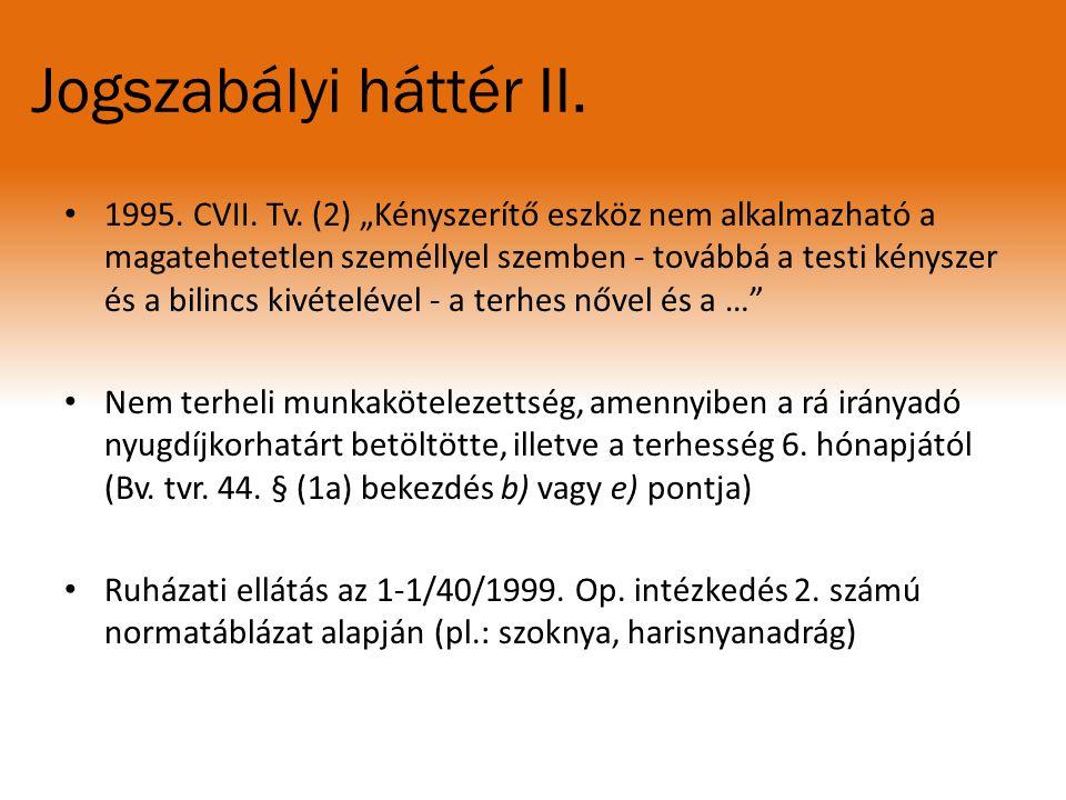 """Jogszabályi háttér II. 1995. CVII. Tv. (2) """"Kényszerítő eszköz nem alkalmazható a magatehetetlen személlyel szemben - továbbá a testi kényszer és a bi"""
