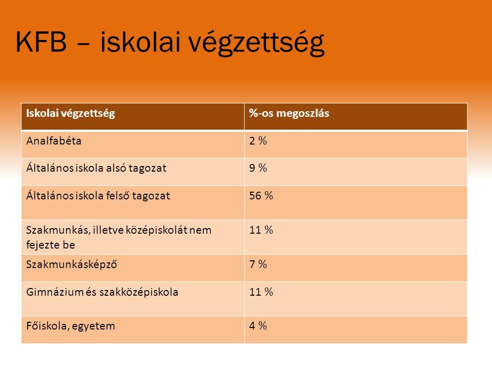 KFB – iskolai végzettség Iskolai végzettség%-os megoszlás Analfabéta2 %2 % Általános iskola alsó tagozat9 % Általános iskola felső tagozat56 % Szakmun