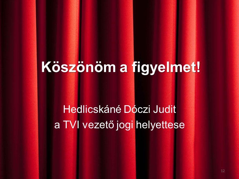 Köszönöm a figyelmet! Hedlicskáné Dóczi Judit a TVI vezető jogi helyettese 12