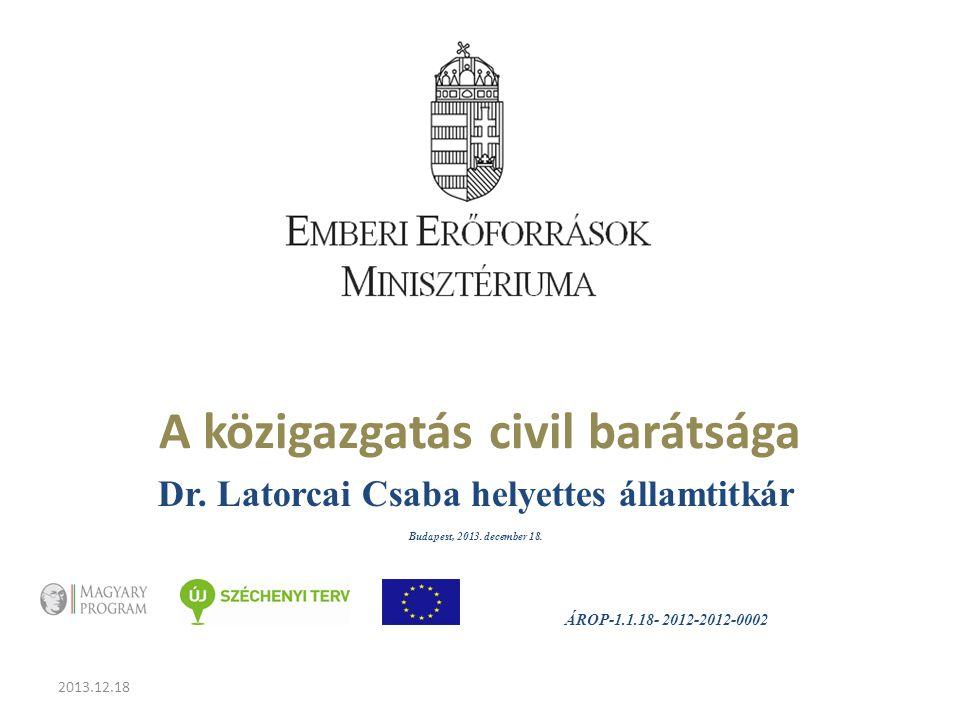 2013.12.18 A közigazgatás civil barátsága Dr. Latorcai Csaba helyettes államtitkár Budapest, 2013.