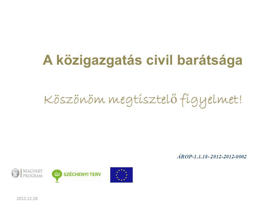 2013.12.18 A közigazgatás civil barátsága Köszönöm megtisztel ő figyelmet.