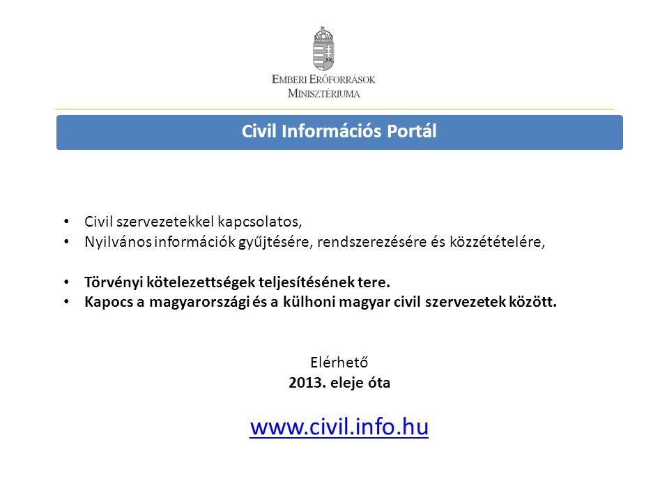 Civil Információs Portál Civil szervezetekkel kapcsolatos, Nyilvános információk gyűjtésére, rendszerezésére és közzétételére, Törvényi kötelezettségek teljesítésének tere.