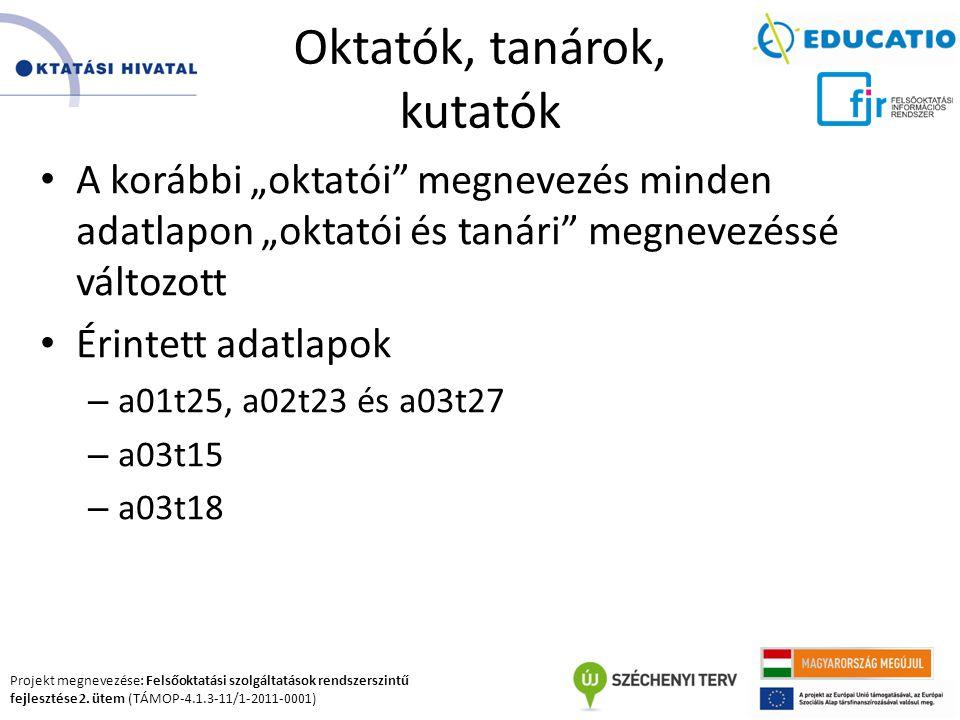 Projekt megnevezése: Felsőoktatási szolgáltatások rendszerszintű fejlesztése 2. ütem (TÁMOP-4.1.3-11/1-2011-0001) Oktatók, tanárok, kutatók A korábbi