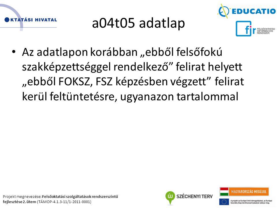 Projekt megnevezése: Felsőoktatási szolgáltatások rendszerszintű fejlesztése 2. ütem (TÁMOP-4.1.3-11/1-2011-0001) a04t05 adatlap Az adatlapon korábban