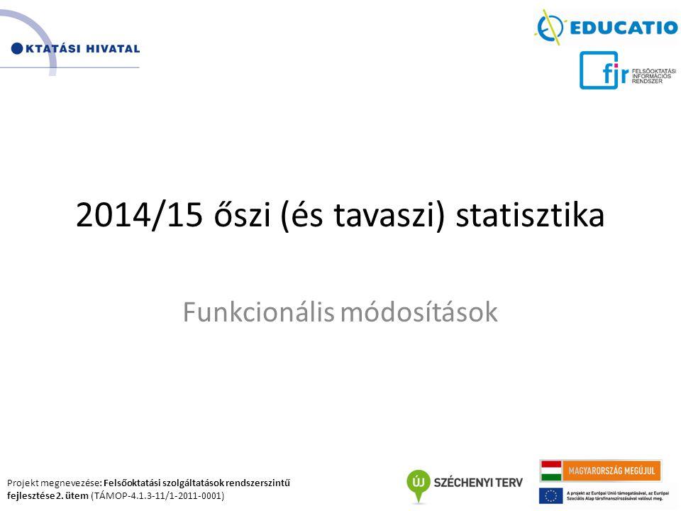 Projekt megnevezése: Felsőoktatási szolgáltatások rendszerszintű fejlesztése 2. ütem (TÁMOP-4.1.3-11/1-2011-0001) 2014/15 őszi (és tavaszi) statisztik