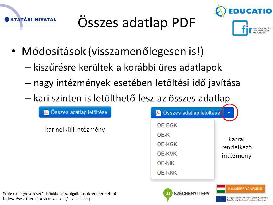 Projekt megnevezése: Felsőoktatási szolgáltatások rendszerszintű fejlesztése 2. ütem (TÁMOP-4.1.3-11/1-2011-0001) Összes adatlap PDF Módosítások (viss