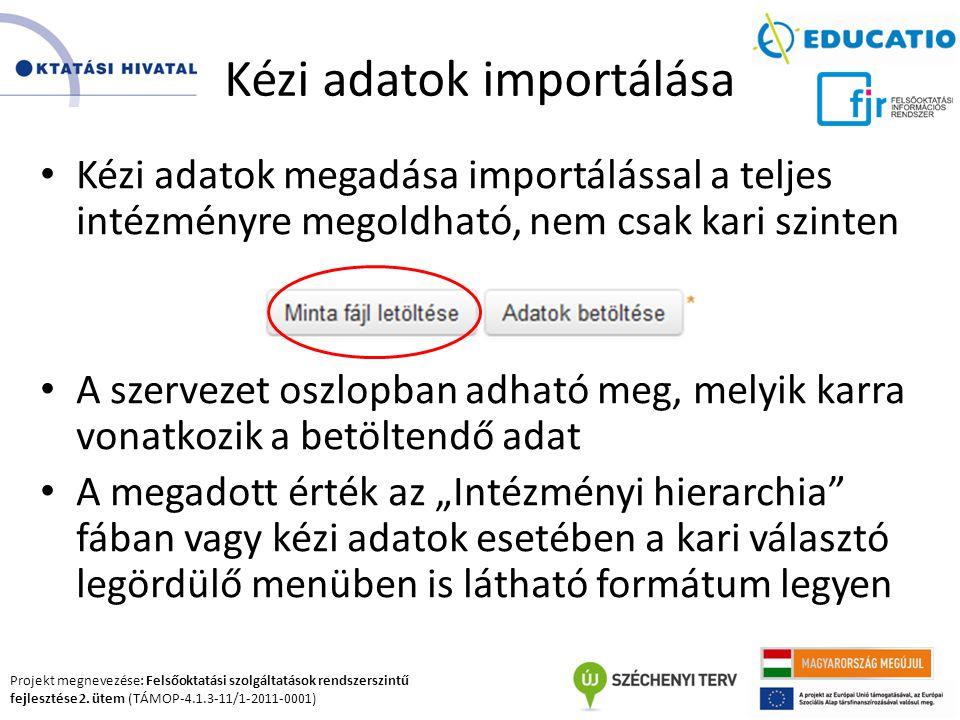 Projekt megnevezése: Felsőoktatási szolgáltatások rendszerszintű fejlesztése 2. ütem (TÁMOP-4.1.3-11/1-2011-0001) Kézi adatok importálása Kézi adatok