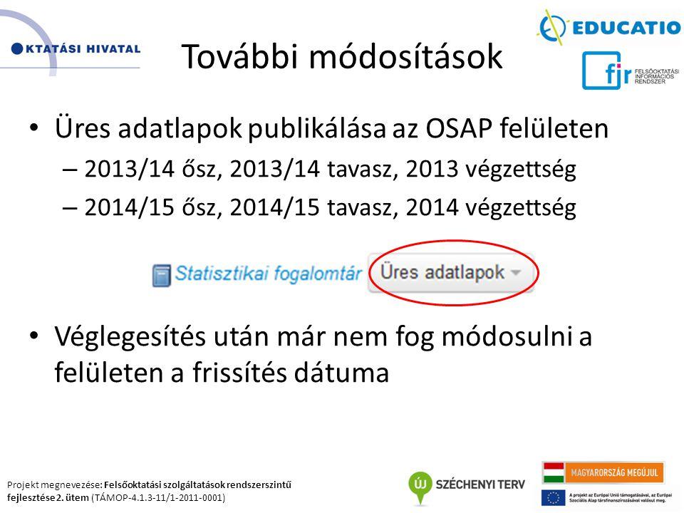 Projekt megnevezése: Felsőoktatási szolgáltatások rendszerszintű fejlesztése 2. ütem (TÁMOP-4.1.3-11/1-2011-0001) További módosítások Üres adatlapok p