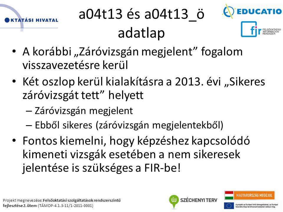 Projekt megnevezése: Felsőoktatási szolgáltatások rendszerszintű fejlesztése 2. ütem (TÁMOP-4.1.3-11/1-2011-0001) a04t13 és a04t13_ö adatlap A korábbi