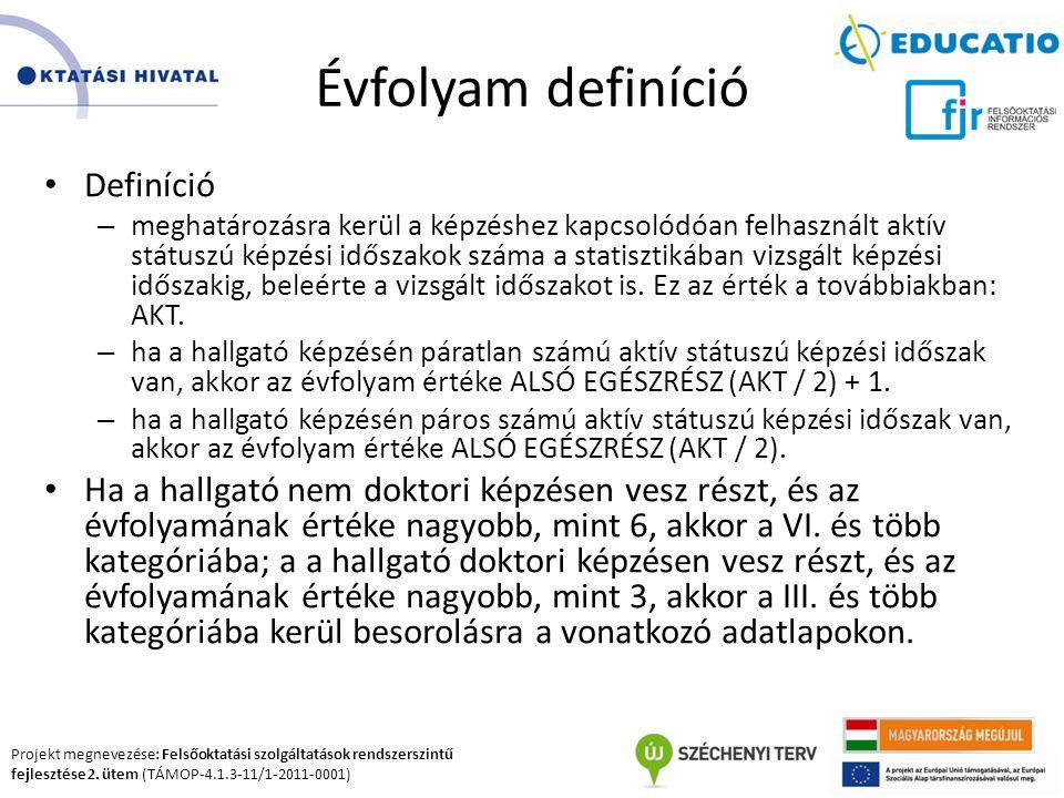 Projekt megnevezése: Felsőoktatási szolgáltatások rendszerszintű fejlesztése 2. ütem (TÁMOP-4.1.3-11/1-2011-0001) Évfolyam definíció Definíció – megha