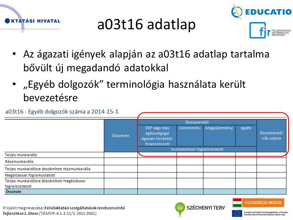 Projekt megnevezése: Felsőoktatási szolgáltatások rendszerszintű fejlesztése 2. ütem (TÁMOP-4.1.3-11/1-2011-0001) a03t16 adatlap Az ágazati igények al