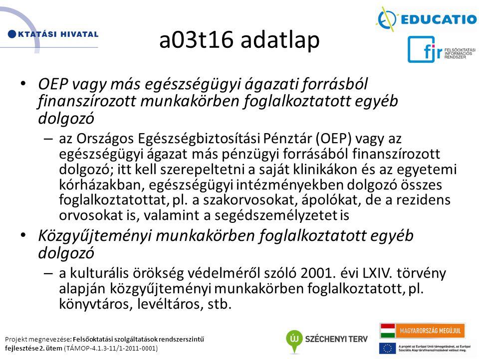 Projekt megnevezése: Felsőoktatási szolgáltatások rendszerszintű fejlesztése 2. ütem (TÁMOP-4.1.3-11/1-2011-0001) a03t16 adatlap OEP vagy más egészség