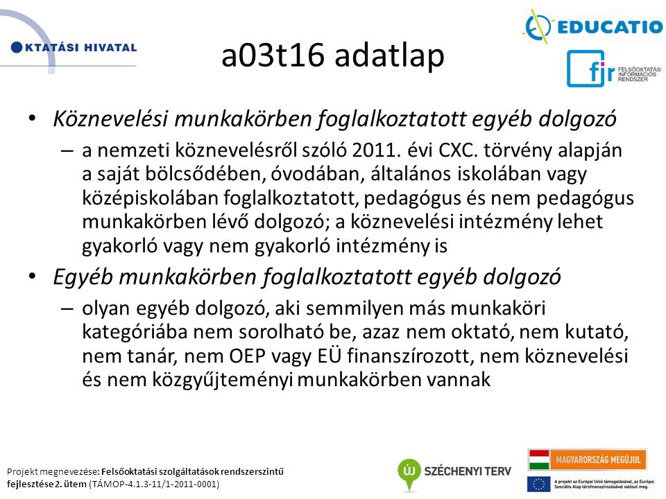 Projekt megnevezése: Felsőoktatási szolgáltatások rendszerszintű fejlesztése 2. ütem (TÁMOP-4.1.3-11/1-2011-0001) a03t16 adatlap Köznevelési munkakörb