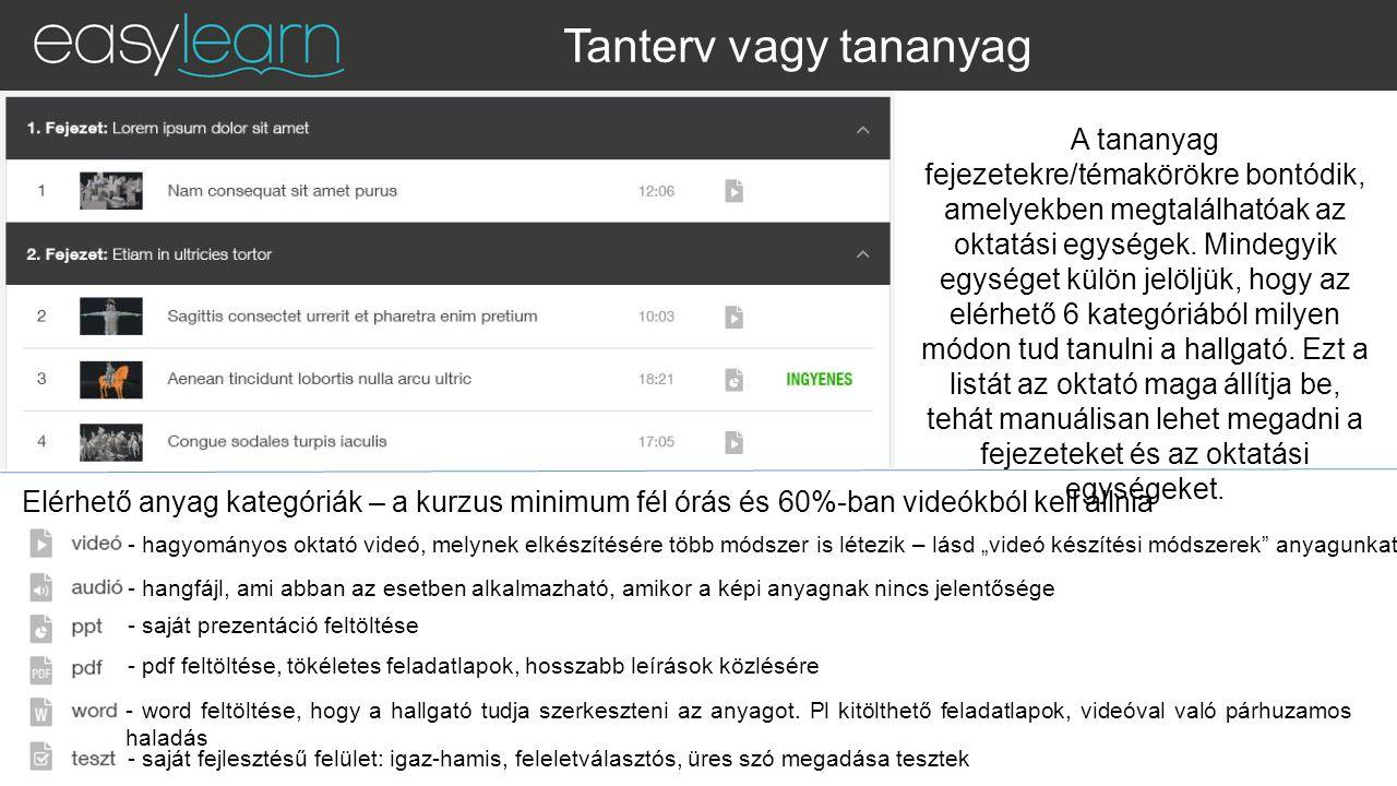 Tanterv vagy tananyag Elérhető anyag kategóriák – a kurzus minimum fél órás és 60%-ban videókból kell állnia A tananyag fejezetekre/témakörökre bontódik, amelyekben megtalálhatóak az oktatási egységek.