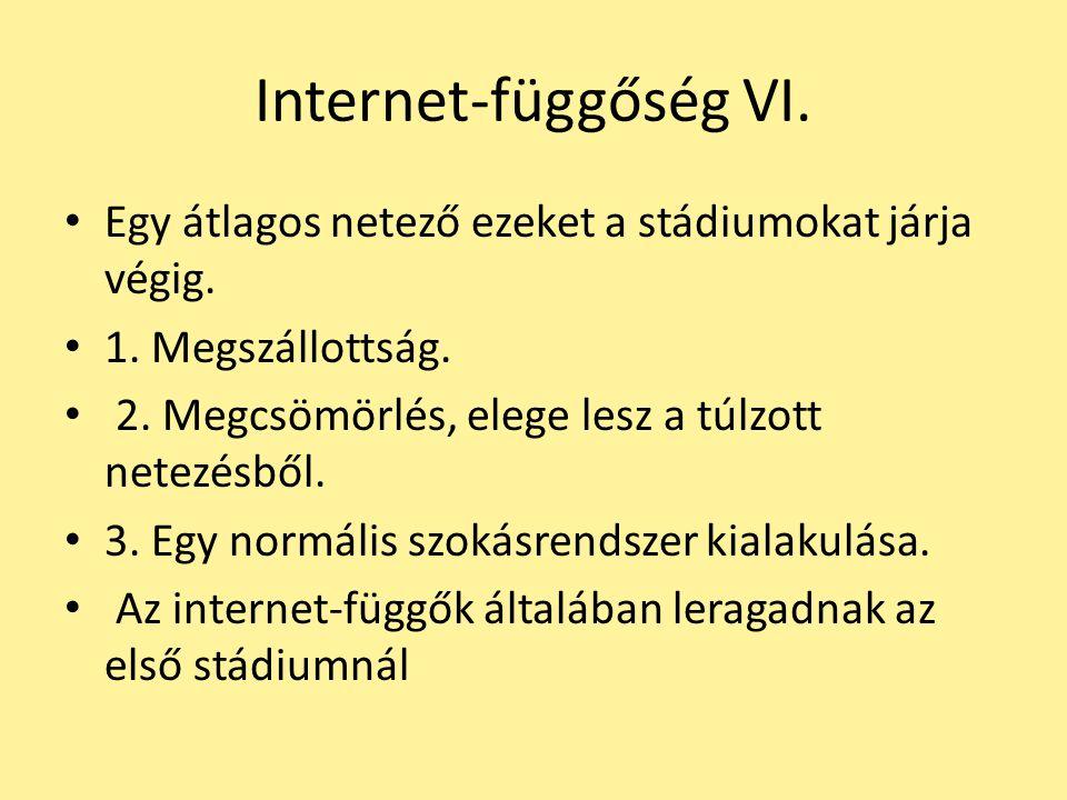 Internet-függőség VI. Egy átlagos netező ezeket a stádiumokat járja végig. 1. Megszállottság. 2. Megcsömörlés, elege lesz a túlzott netezésből. 3. Egy
