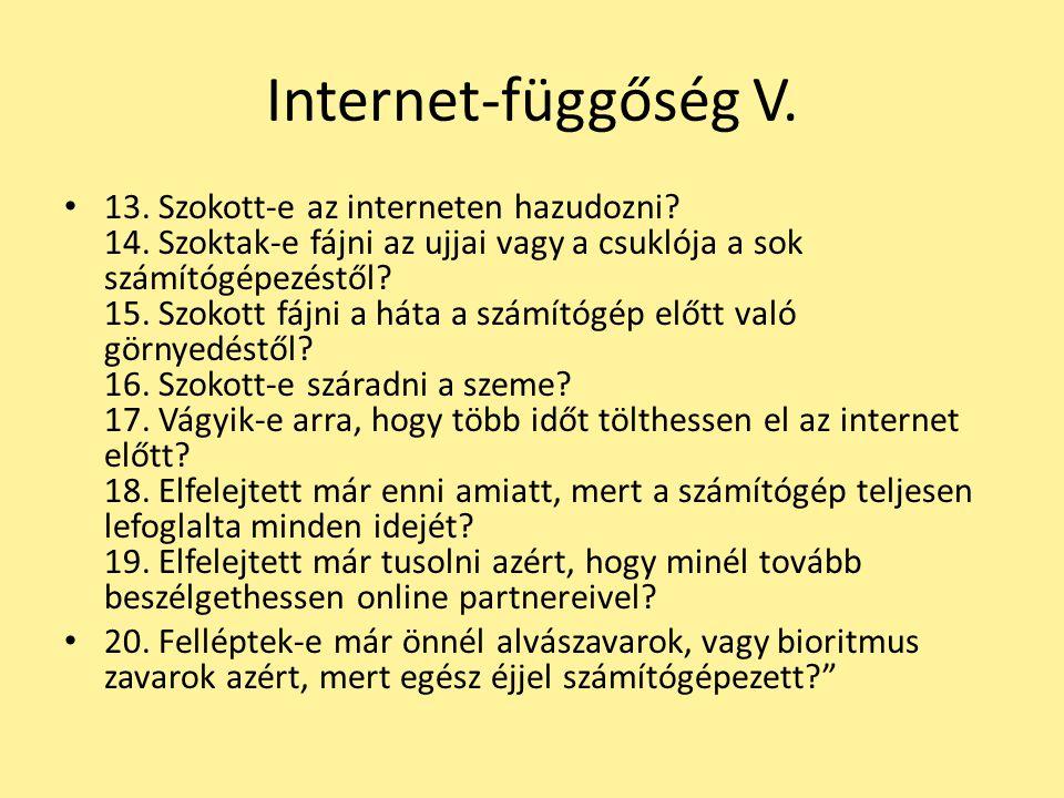 Internet-függőség V. 13. Szokott-e az interneten hazudozni? 14. Szoktak-e fájni az ujjai vagy a csuklója a sok számítógépezéstől? 15. Szokott fájni a