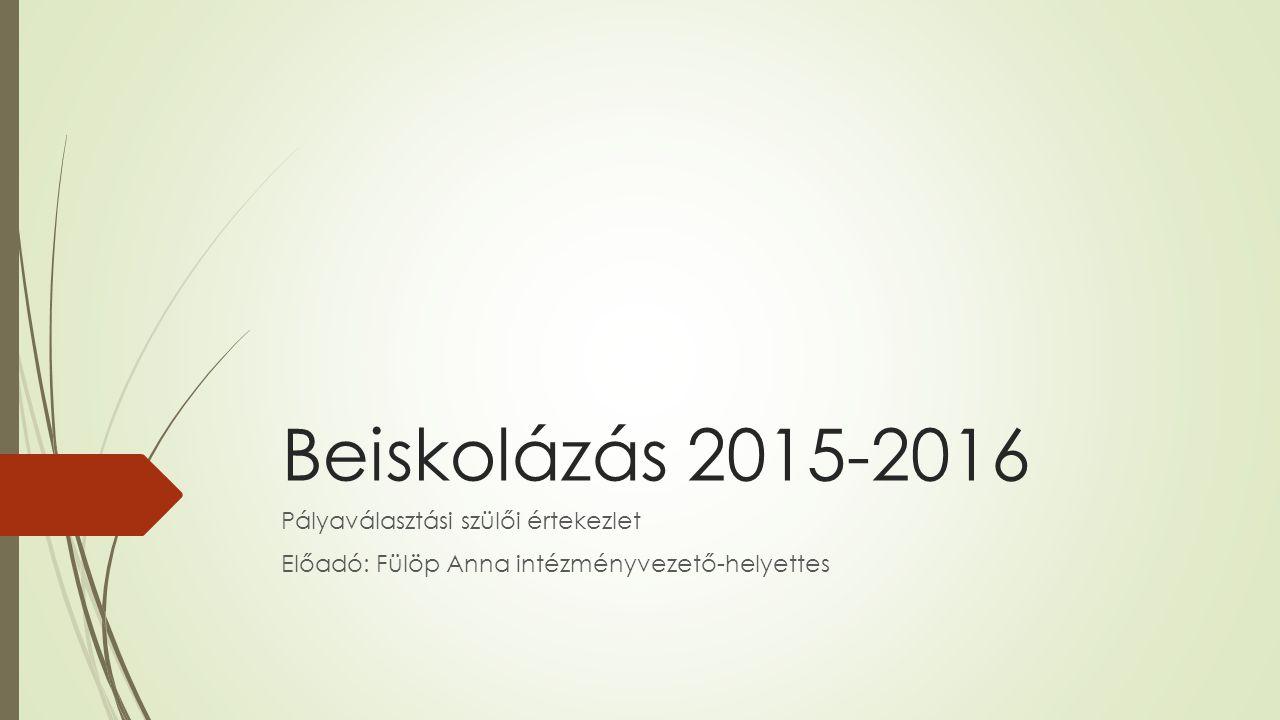 Beiskolázás 2015-2016 Pályaválasztási szülői értekezlet Előadó: Fülöp Anna intézményvezető-helyettes
